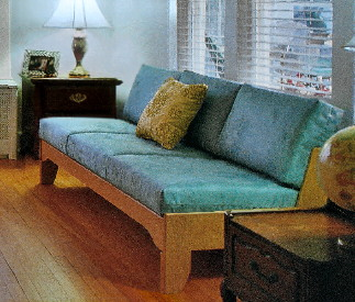 armless sofa, narrow, compact