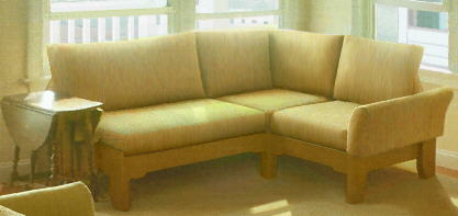 small, family-friendly sectional sofa, made to fit