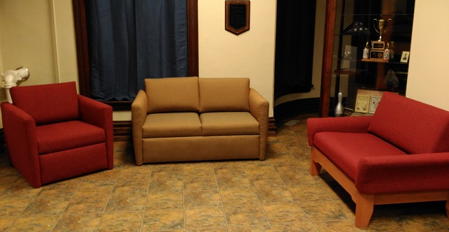 comfortable heavy duty chairs and loveseats for fraternity use.