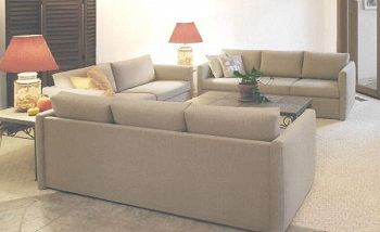 Custom-size contemporary sofas and loveseat, in great fabric selection